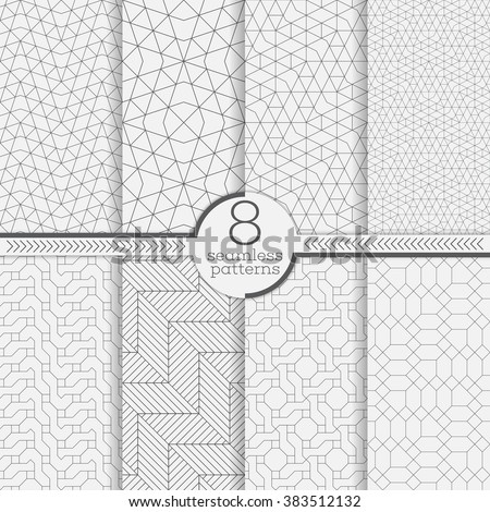 Set of seamless patterns. Modern stylish textures.  Abstract geometrical background. Original linear texture with repeating thin broken lines, polygons, difficult polygonal shapes - stock vector