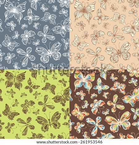 Set of seamless patterns of butterflies. Vector various seamless patterns with ornate butterflies for your design.  - stock vector
