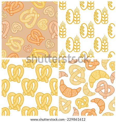 Set of seamless patterns of wheat and bakery products showing ears of wheat, pretzels and croissants, vector illustration in square format