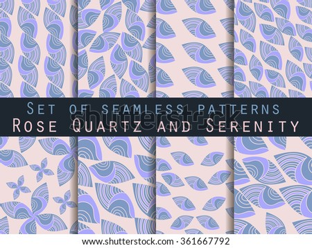 Set of seamless patterns.  Rose quartz and serenity. Vector.