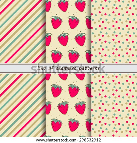 Set of seamless patterns, strawberry, background with dots, diagonal striped background, vector design, berry background. - stock vector