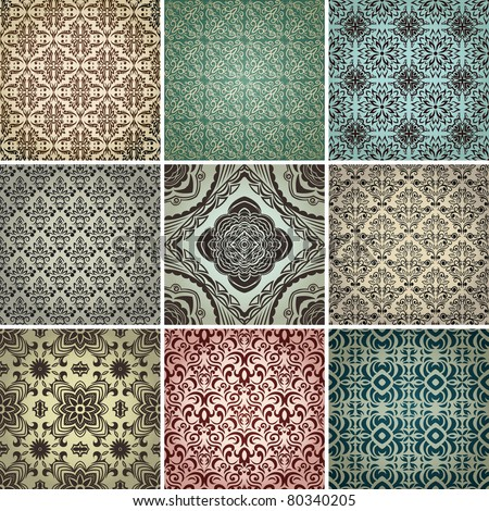 set of 9 seamless patterns. Vector - stock vector