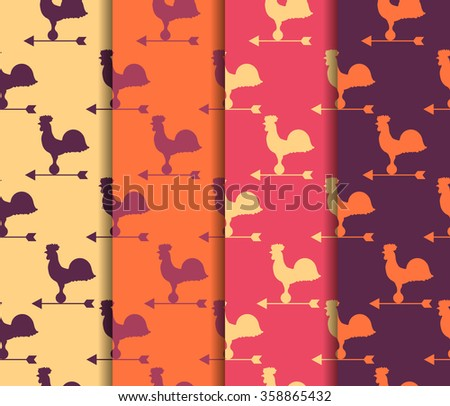 Set of seamless patterns. Weather vane rooster. Vector. - stock vector