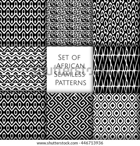 Set of seamless patterns with african ethnic and tribal ornament. Vector black and white boho ornaments collection. - stock vector