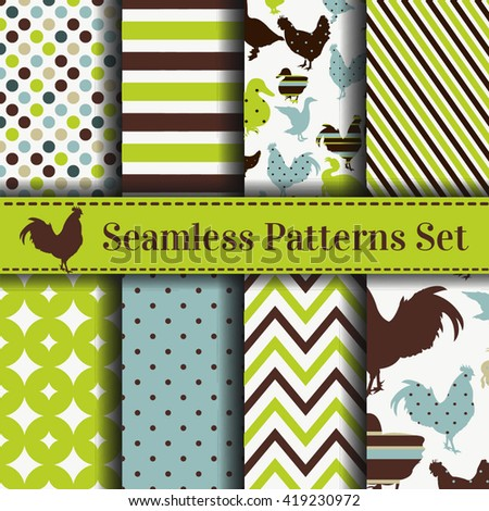 Set of seamless patterns with animals  Vector backgrounds collection. Pattern with chicken, goose, duck, turkey - stock vector