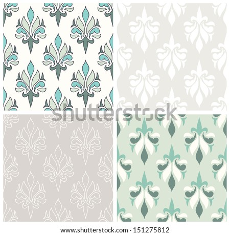 Set of seamless patterns with damask design. Soft pastel color palette. - stock vector