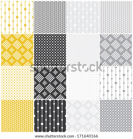 set of 16 seamless patterns with dots, squares and lines, vector illustration - stock vector
