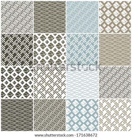set of 16 seamless patterns with dots, waves and stripes, vector illustration