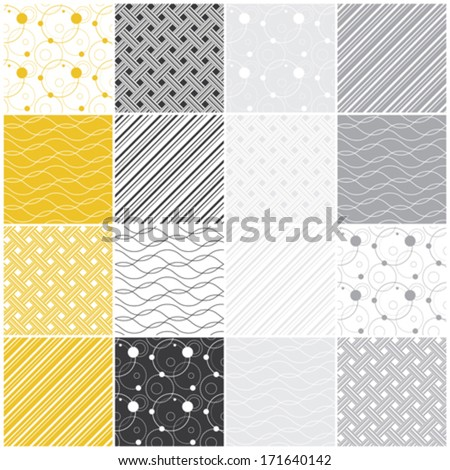 set of 16 seamless patterns with dots, waves and stripes, vector illustration - stock vector