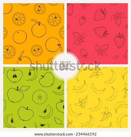 set of seamless patterns with fruits: orange, strawberry, apple, banana - stock vector