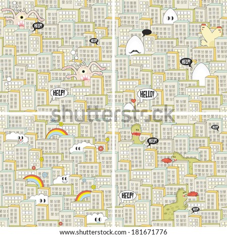Set of seamless patterns with hungry monsters in the city. Vector repeating backgrounds. - stock vector