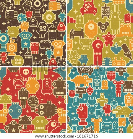 Set of seamless patterns with robots, monsters and other creatures. Vector repeating backgrounds. - stock vector