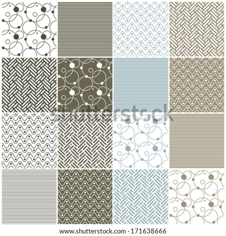 set of 16 seamless patterns with stripes, waves, dots, circles and chevron, vector illustration - stock vector