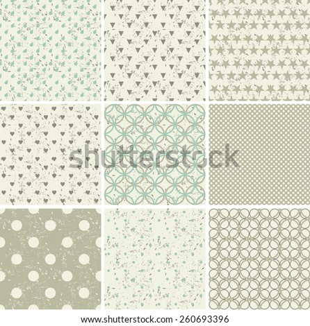 set of 9 seamless polka dot patterns in pastel  colors