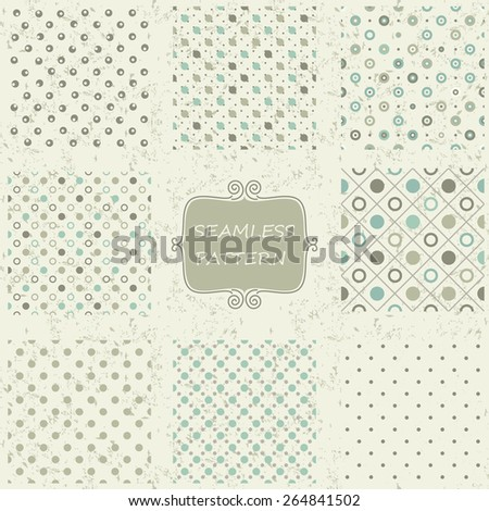 set of 8 seamless polka dot patterns in pastel colors on shabby background - stock vector