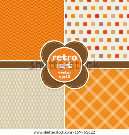 Set of seamless retro backgrounds in autumn colors. Great for Thanksgiving, greeting cards, surface textures. See my folio for more in this series and for JPEG versions. - stock vector