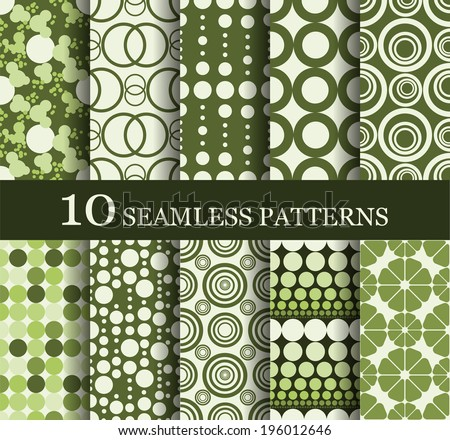 set of 10 seamless retro  patterns can be used for wallpaper, website background, textile printing - stock vector