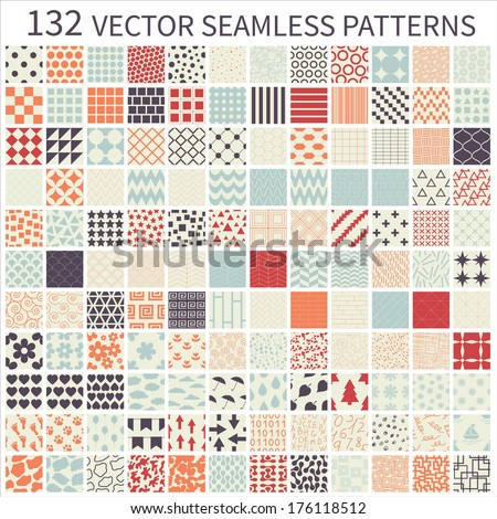 Set of seamless retro vector geometric, polka dot, floral, decorative patterns. - stock vector