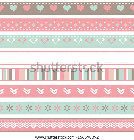 set of seamless ribbons - stock vector