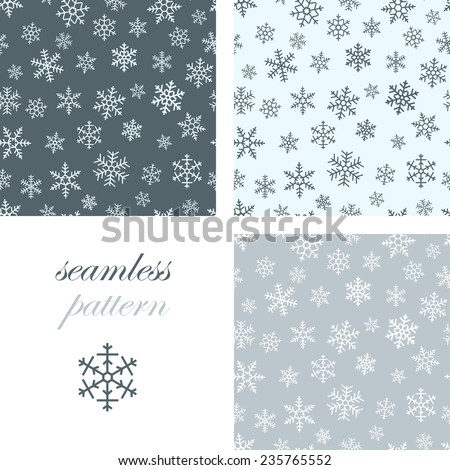 Set of seamless simple patterns of different light blue geometric snowflakes on dark background
