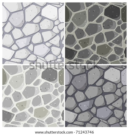 Set of seamless stonewall - stock vector