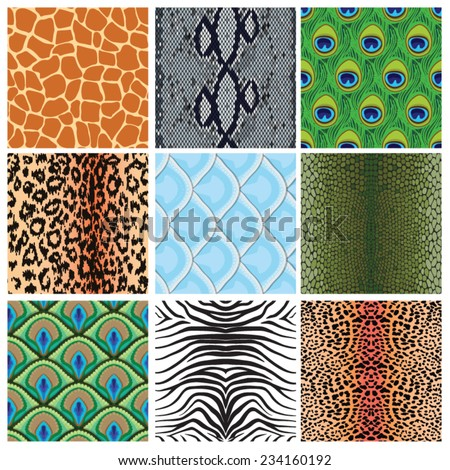 set of seamless textures of animal skins, vector illustration - stock vector