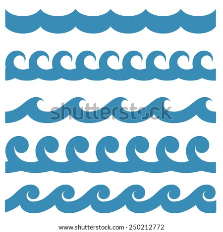 Set of seamless textures with a symbolic image of waves - stock vector