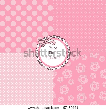 set of seamless vector backgrounds with polka dots
