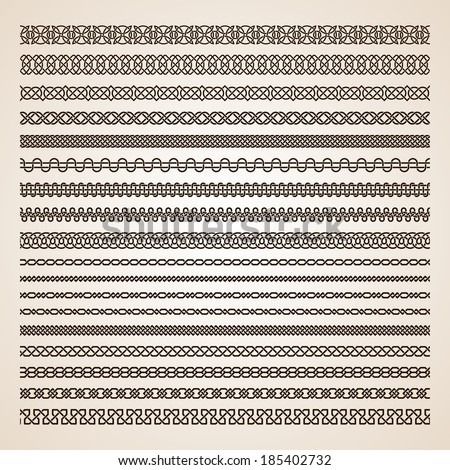 Set of seamless vector borders - stock vector