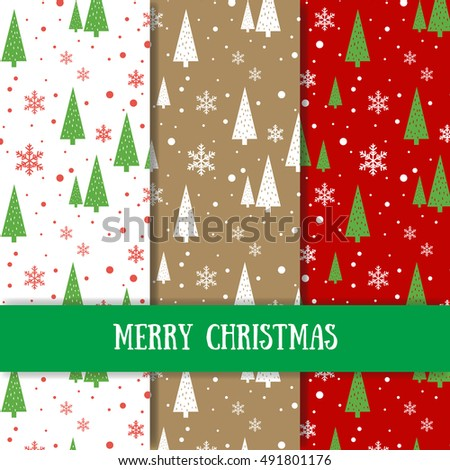 Set of seamless vector Christmas patterns. Creative winter textures. New year background.