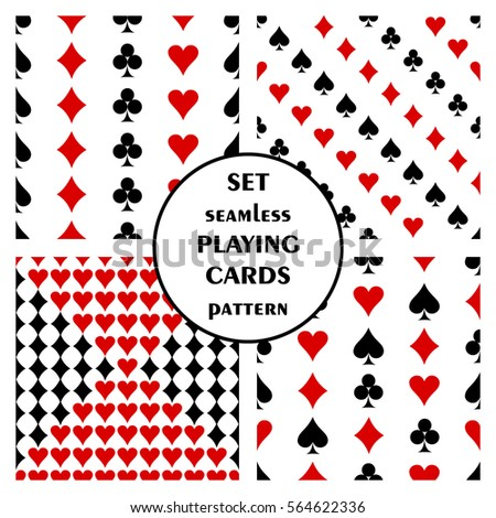 Set of seamless vector pattern with playing cards. Symmetrical backgrounds with red and black icons of game cards. Graphic illustration. Series of sets of vector seamless patterns