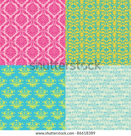 Set of seamless vintage floral pattern - stock vector