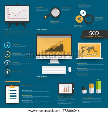 Set of Search Engine Optimization Infographic with digital devices and graphs on blue background. - stock vector