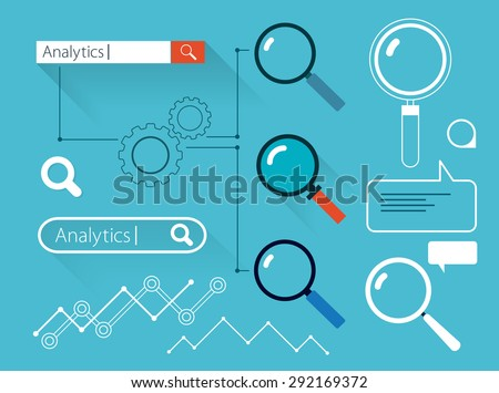 Set of search flat web design elements - stock vector