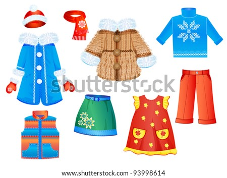 set of seasonal clothes for girls. Vector illustration. - stock vector