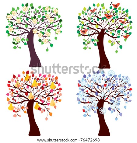Set of seasonal funny trees - spring, summer, autumn, winter