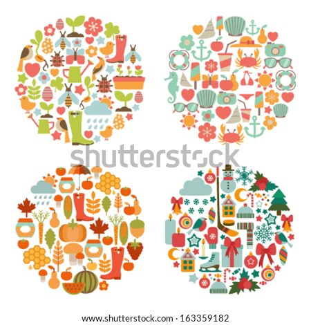 set of seasonal round cards - stock vector