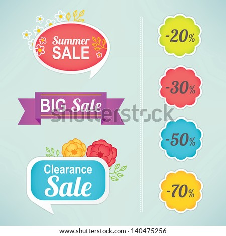 Set of seasonal sale labels