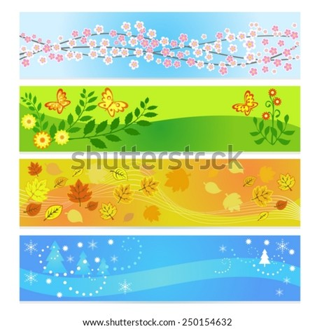 Set of seasons banner backgrounds - stock vector