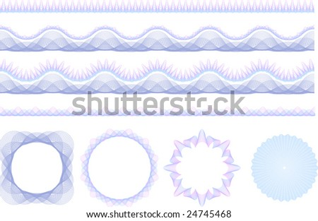 Set of security guilloche seamless patterns & rosetta. Pattern brushes included - easy to create your own designs! - stock vector