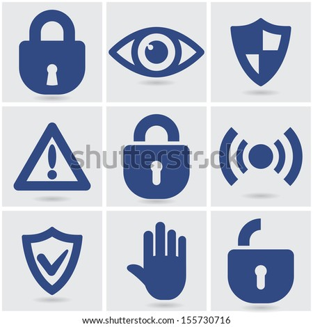 set of security icons. vector eps10 - stock vector
