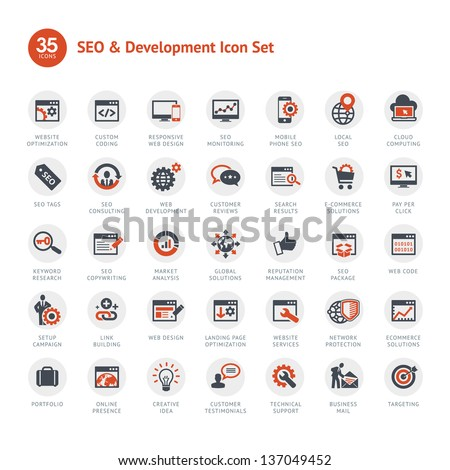 Set of SEO and Development icons - stock vector