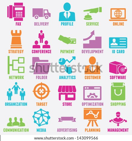Set of seo and internet service icons - part 7 - vector icons - stock vector
