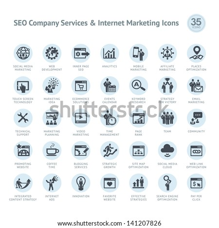 Set of SEO company service and Internet marketing icons - stock vector
