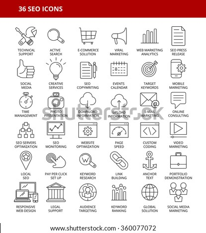 SET OF 36 SEO ICONS - stock vector