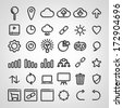Set of SEO icons on white background - stock vector