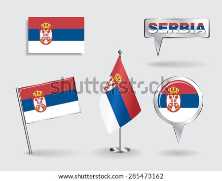 Set of Serbian pin, icon and map pointer flags. Vector illustration. - stock vector