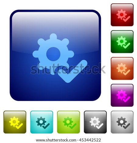 Set of settings ok color glass rounded square buttons - stock vector