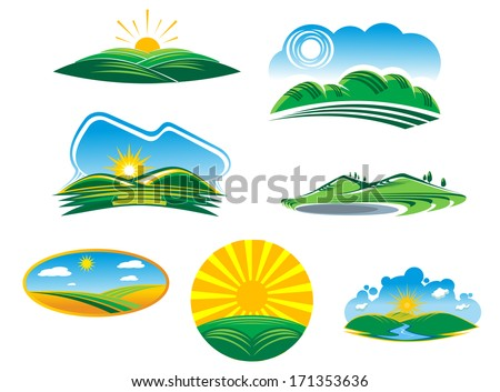 Set of seven different sunny summer landscapes logo with beautiful green fields and hills basking in the rays of sunshine, cartoon illustrations