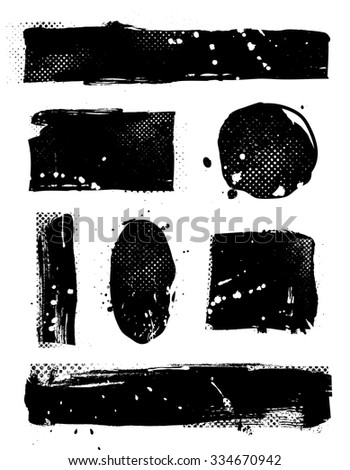 Set of seven grunge banners - stock vector